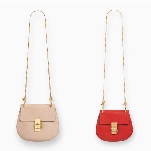Chloe Drew small bag in grained leather cement pink and drew mini bag in grained leather plaid red