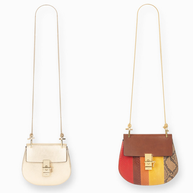 Chloe Drew small bag in python stripes multicolor and drew mini bag in metallic goatskin leather pale gold