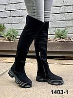 Ботфорты женские зимние замшевые черные, фото 1