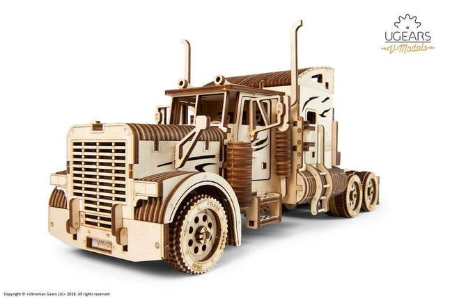 Тягач (Биг Риг фура) VM-03 UGears - Деревянный механический 3D пазл конструктор, фото 2
