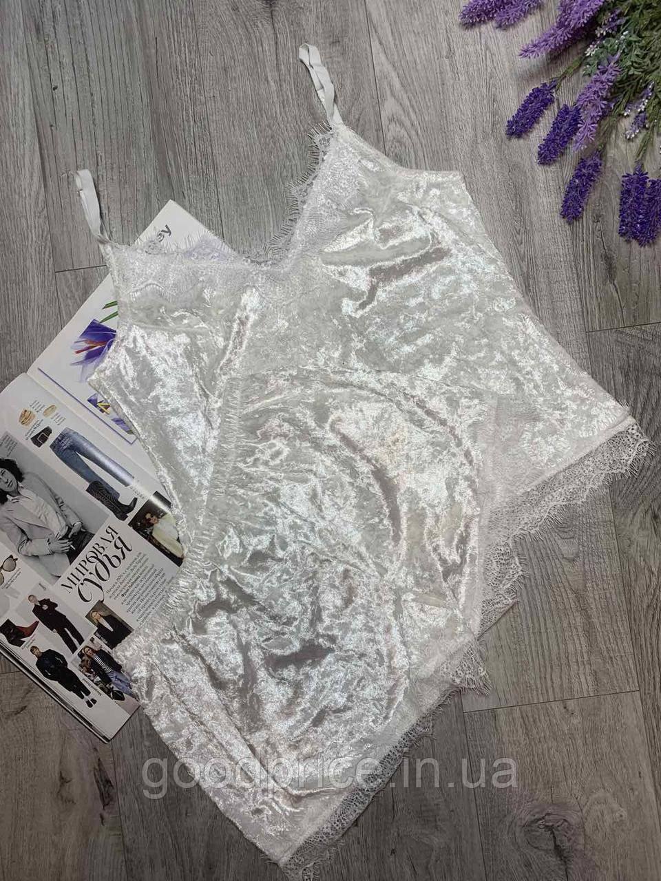 Пижама из редкого турецкого мраморного велюра с кружевом, комплект майка и шорты