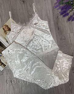 Пижама из редкоготурецкогомраморного велюра с кружевом