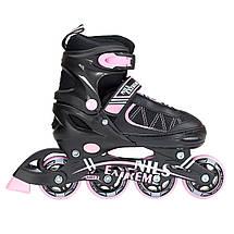 Роликовые коньки Nils Extreme NF7103A 2 в 1 Size 30-33 Black/Pink, фото 3