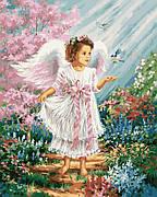Картина по номерам Rainbow Art Ангелочек в цветущем саду 40*50 см (без коробки) арт.BK-GX27188