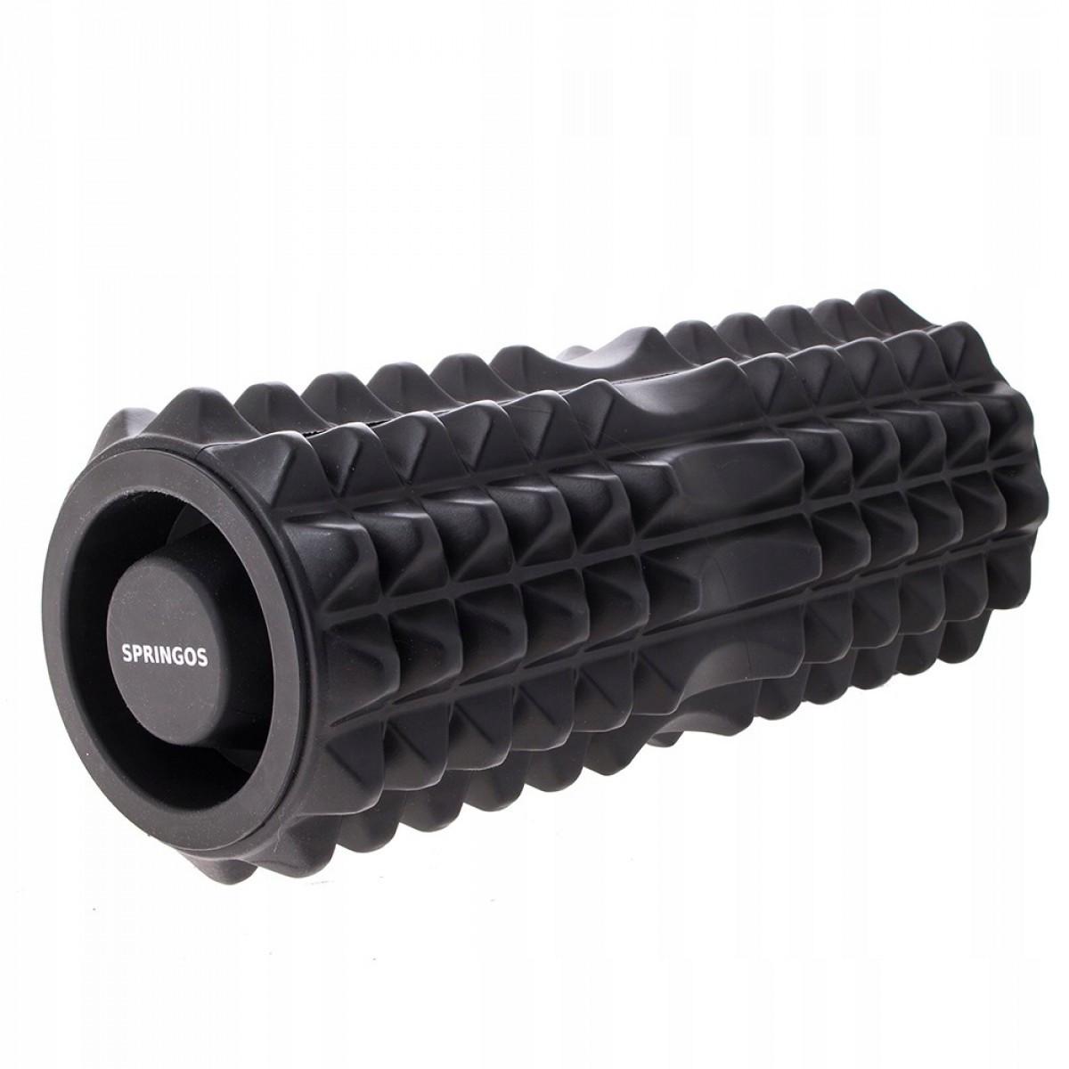 Массажный ролик (валик, роллер, ролл) Springos 33.5 x 13.5 см FR0006 Black для йоги и фитнеса