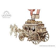 Карета (почтовый дилижанс) UGears (248 деталей) - механический деревянный 3D пазл конструктор, фото 3