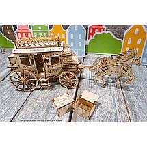 Карета (почтовый дилижанс) UGears (248 деталей) - механический деревянный 3D пазл конструктор, фото 2