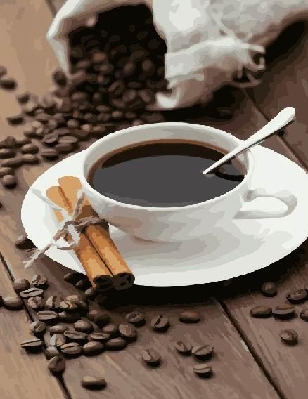 Кава і палички кориці, картина за номерами, розмір полотна 400х500 мм