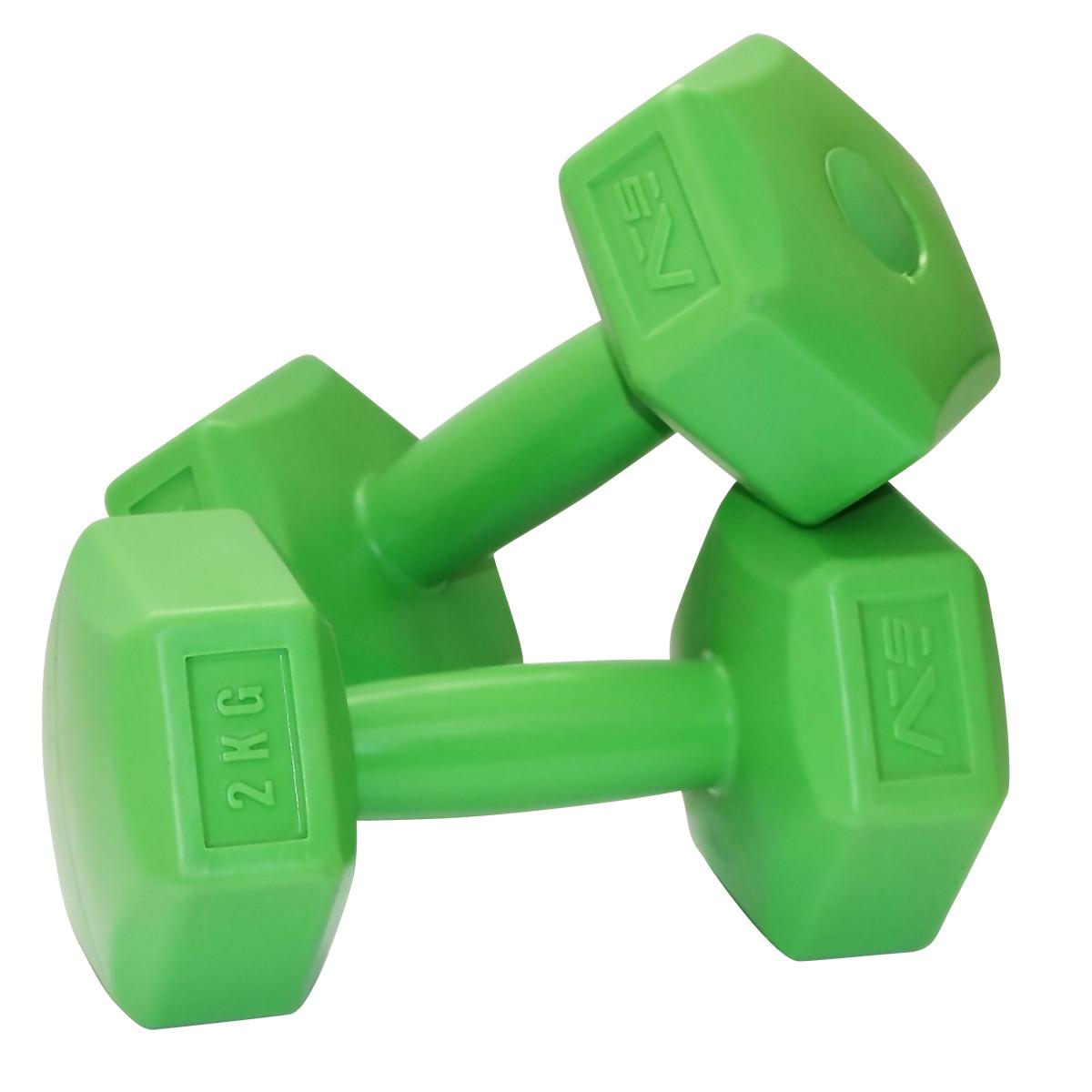 Гантели для фитнеса SportVida 2 x 2 кг SV-HK0218. Гексагональные гантели с пластиковым покрытием