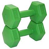 Гантели для фитнеса SportVida 2 x 2 кг SV-HK0218. Гексагональные гантели с пластиковым покрытием, фото 2