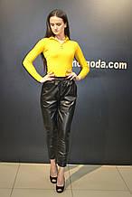 Штаны женские кожаные джоггеры ,черные,(фабричный Китай)