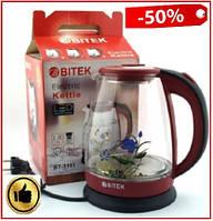 Электрочайник стеклянный 1.8л LED подсветка 2400 Вт BITEKBT-3111, стеклянный электрический чайникс цветком
