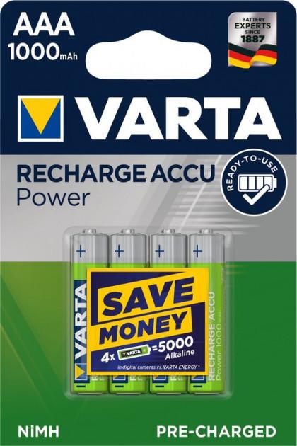 Аккумуляторы AAA аккумуляторные батарейки Varta Ready-to-use 1000 mAh 4 шт