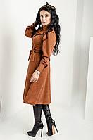 Сильное женское платье рубашечным кроем из замши, фото 1