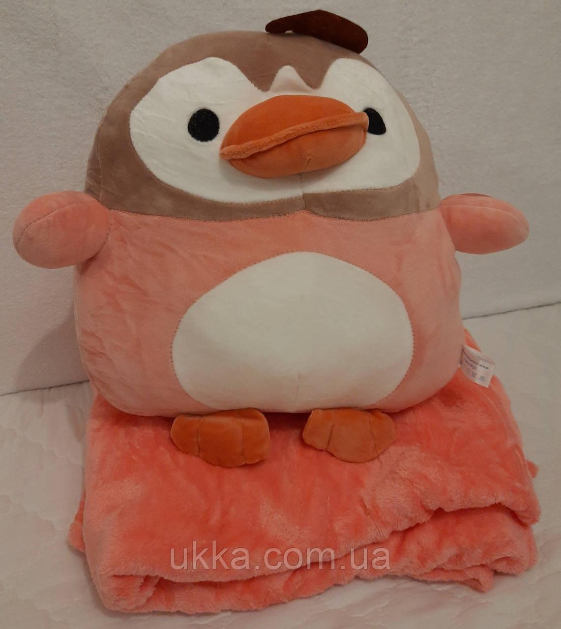 Игрушка плед Пингвин розовый с пледом