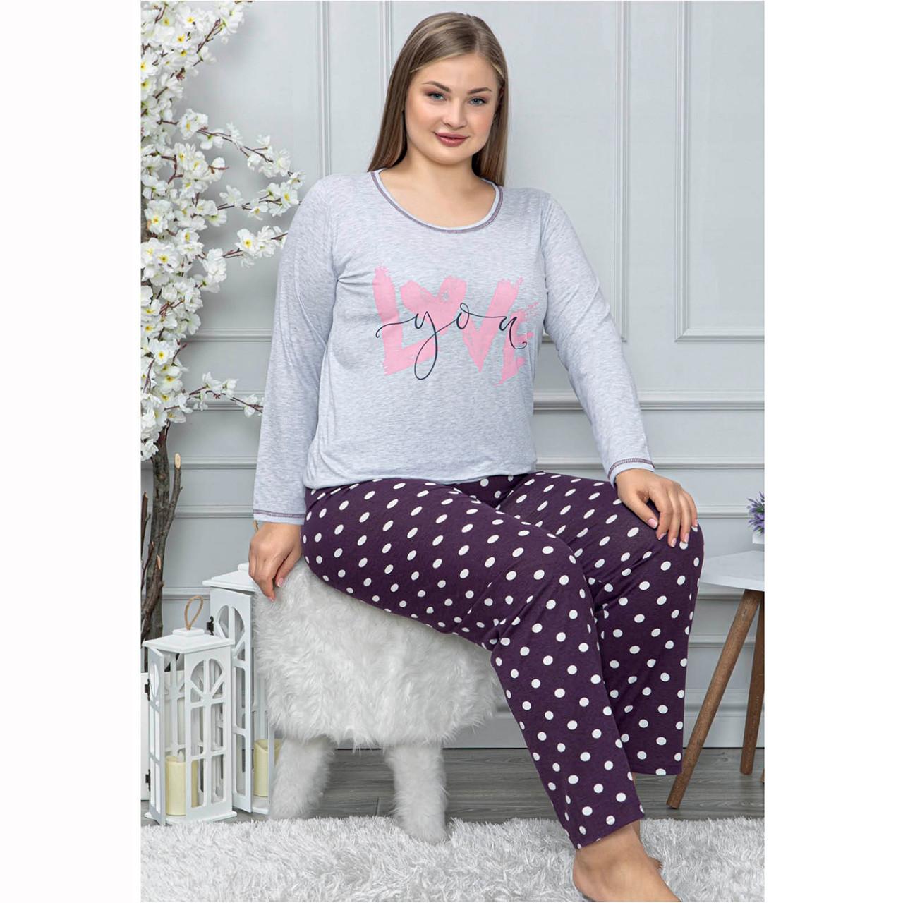 Пижама женская  2XL-3XL-4XL хлопковая с брюками большого размера LoveYou Seyko Турция 4XL