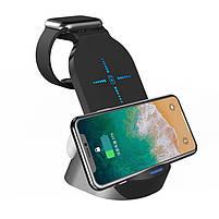 """Портативний бездротовий зарядний пристрій 3в1 Qi """"HYD-H18"""" 15W нового дизайну чорна зарядка для телефону, фото 5"""