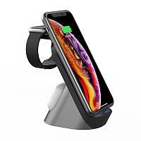 """Портативное беспроводное зарядное устройство 3в1 Qi """"HYD-H18"""" 15W нового дизайна черная зарядка для телефона"""