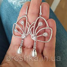 Длинные вечерние серьги бабочки ювелирная бижутерия, фото 3