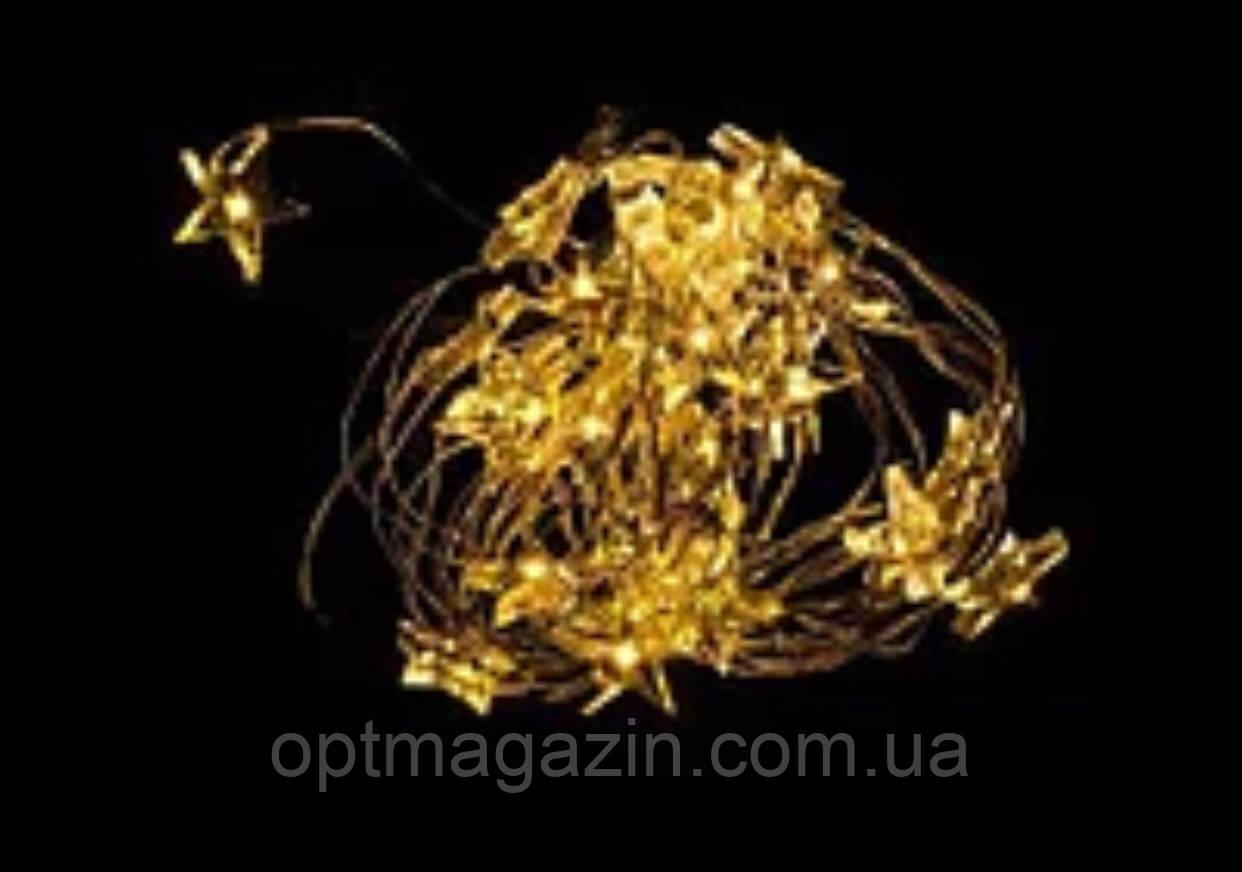 Светодиодная гирлянда капля росы звездочки 2м 20led на батарейках золотая теплая