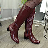Сапоги бордовые кожаные на невысоком каблуке, фото 2