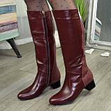 Сапоги бордовые кожаные на невысоком каблуке, фото 4