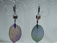 Серьги с натуральным камнем черный агат и листом хамелионом