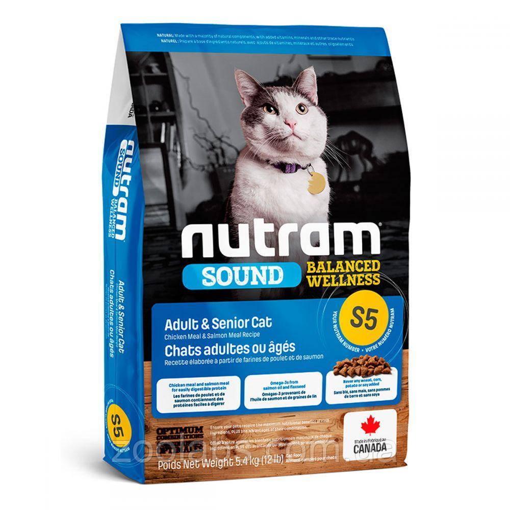 Корм Nutram для взрослых и пожилых кошек   Nutram S5 Sound Balanced Wellness Natural Adult & Senior Cat 340 гр