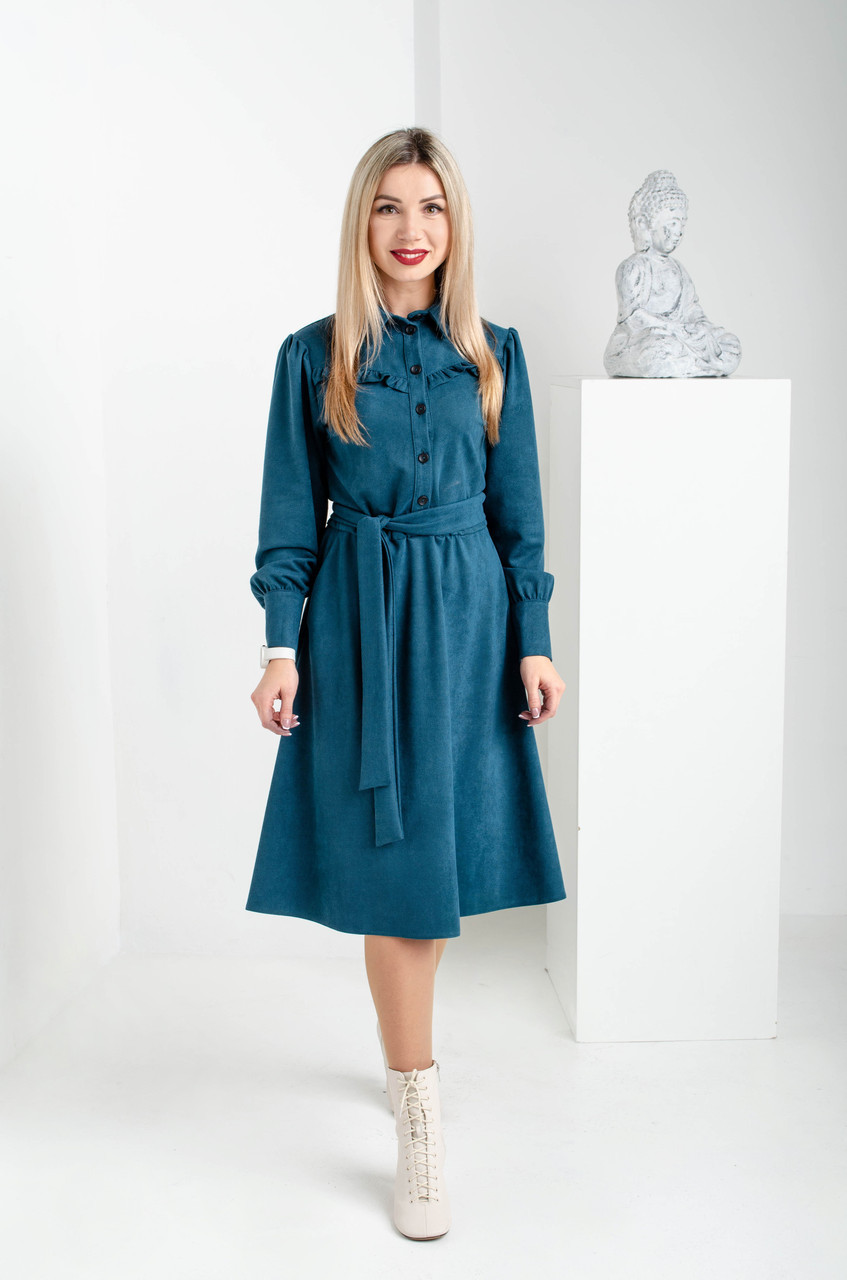 Женское замшевое платье изумруд