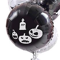 Связка на Halloween: 3 черных и 4 белых круга с декором Пауки-коты-ведьмы-вороны-летучие мыши, фото 2