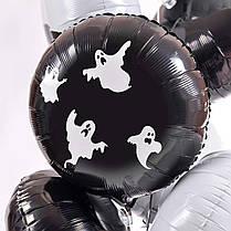Связка на Halloween: 3 черных и 4 белых круга с декором Пауки-коты-ведьмы-вороны-летучие мыши, фото 3