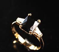Кольцо позолота с чёрным цирконом (16 размер)