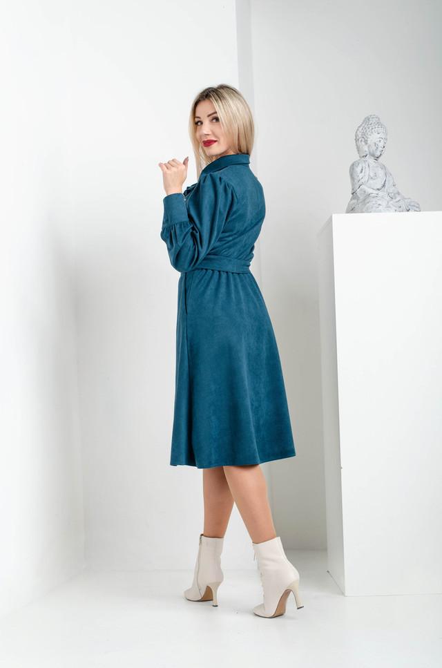 Платье замшевое изумрудного цвета