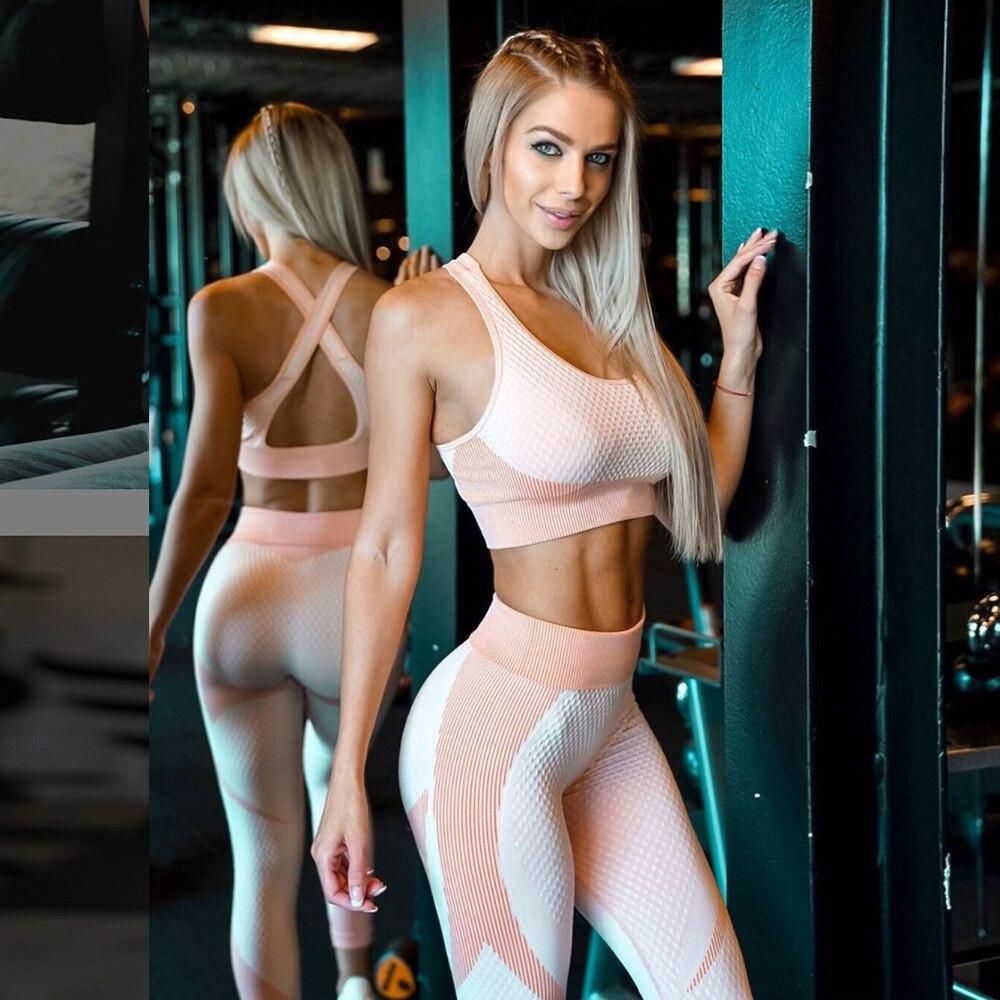 Спортивный женский костюм для фитнеса бега йоги. Спортивные лосины леггинсы топ для фитнеса (розовый) M