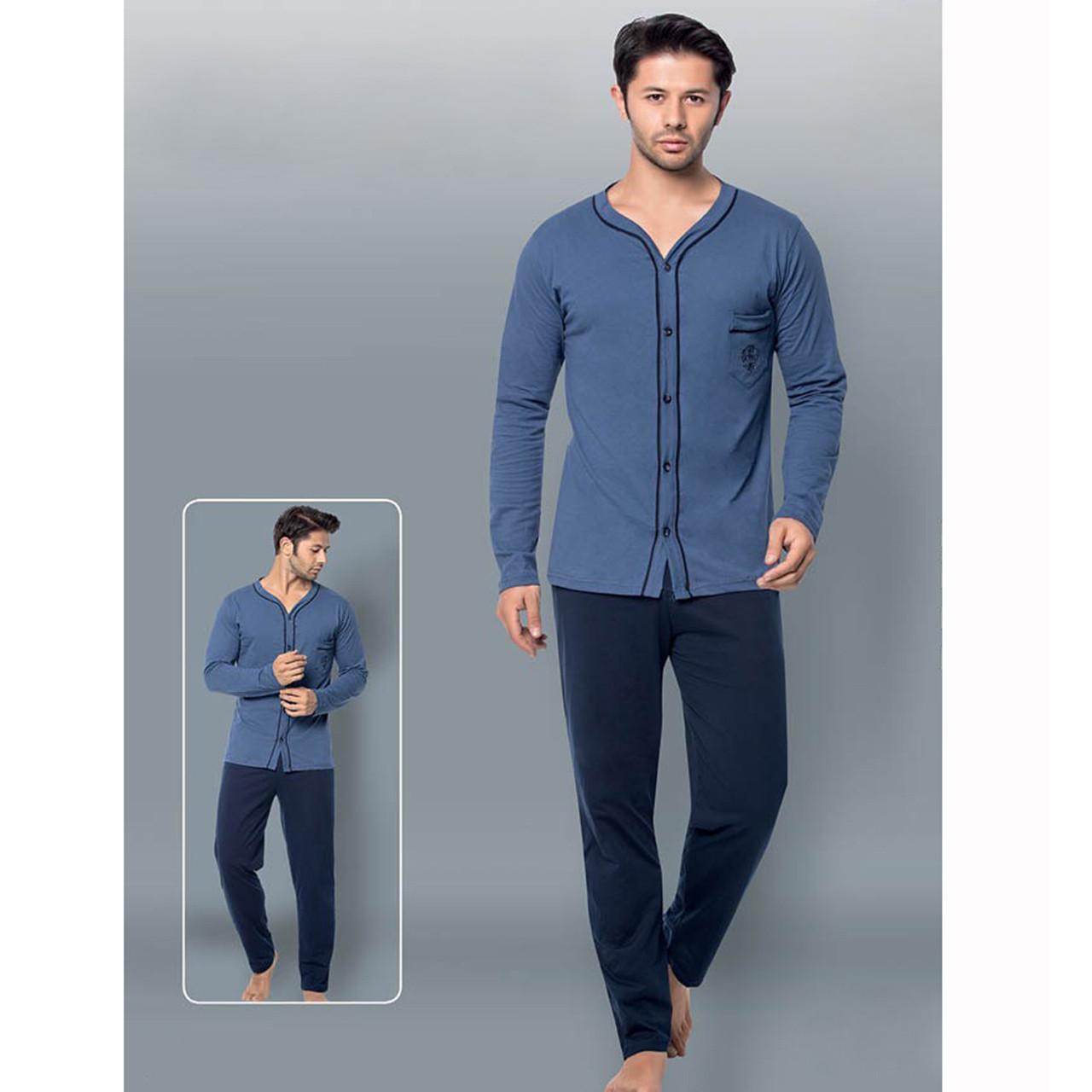 Пижама мужская для дома хлопковая со штанами однотонная синяя Seyko M-2XL, пижамный домашний костюм с карманом