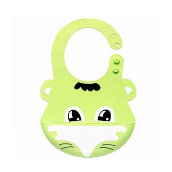 Детский нагрудник-слюнявчик CUMENSS Лиса Green 280*210 мм силиконовый с карманом