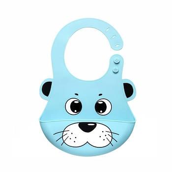 Детский нагрудник-слюнявчик CUMENSS Кот Blue 280*210 мм силиконовый с карманом