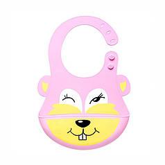 Дитячий нагрудник CUMENSS Кролик Pink 280*210 мм слюнявчик силіконовий з кишенею