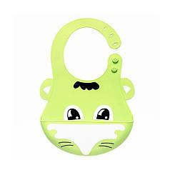 Детский нагрудник CUMENSS Лиса Green 280*210 мм слюнявчик силиконовый с карманом