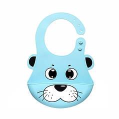Детский нагрудник CUMENSS Кот Blue 280*210 мм слюнявчик силиконовый с карманом