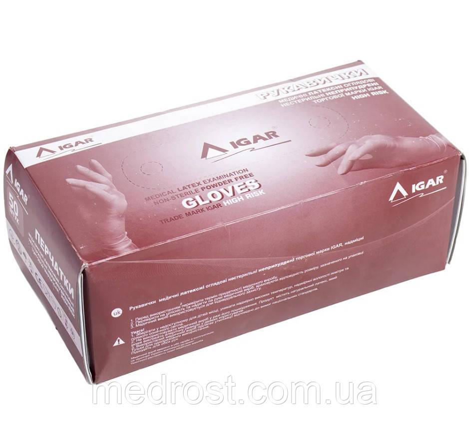 Перчатки латексные неопудренные сверхпрочные Igar High Risk р.L, 50 шт (25 пар)