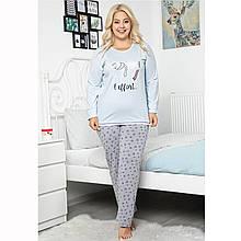 Піжама жіноча бавовняна з брюками великого розміру Сердечка Seyko2XL-4XL