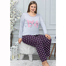 Пижама женская хлопковая с брюками большого размера LoveYou Seyko2XL-4XL