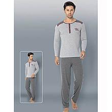 Піжама чоловіча для будинку бавовняна з штанами однотонна сіра Seyko M піжамний домашній костюм