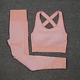 Спортивный женский костюм для фитнеса бега йоги. Спортивные лосины леггинсы топ для фитнеса (розовый) M, фото 3
