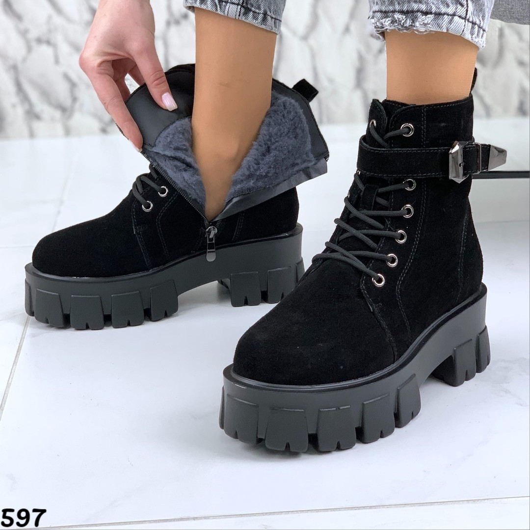 Ботинки замшевые женские на зиму сбоку рабочая молния