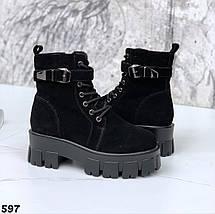 Ботинки замшевые женские на зиму сбоку рабочая молния, фото 3