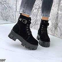 Ботинки замшевые женские на зиму сбоку рабочая молния, фото 2