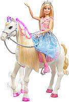Кукла Принцесса Барби и Танцующая лошадка Единорог Barbie GML79 Modern Princess Prance & Shimmer Horse