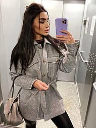 Женское пальто-рубашка с поясом с утеплителем серый и бежевый (2 цвета)